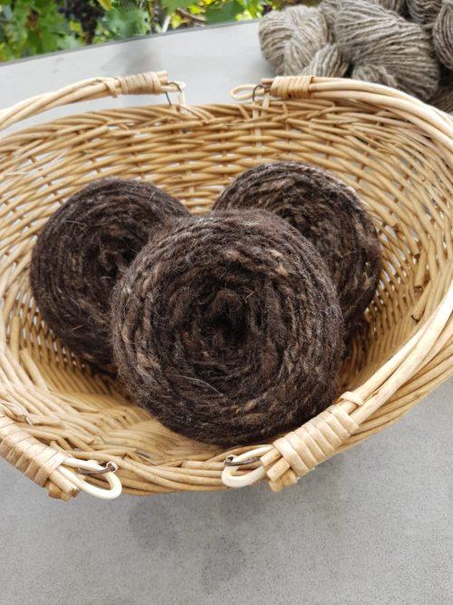 Schurwolle naturfarben - braun meliert